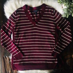 GAP Striped V-Neck Maroon Sweater Women's LARGE
